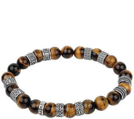 Or Paz Sterling Silver Men's Tiger's-eye BeadedBracelet