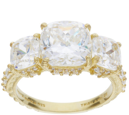 Judith Ripka 14K Clad 3-Stone 5.60 Cttw Diamonique Ring
