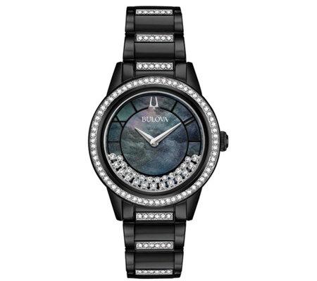 Bulova Women S Crystal Black Stainless Braceletwatch