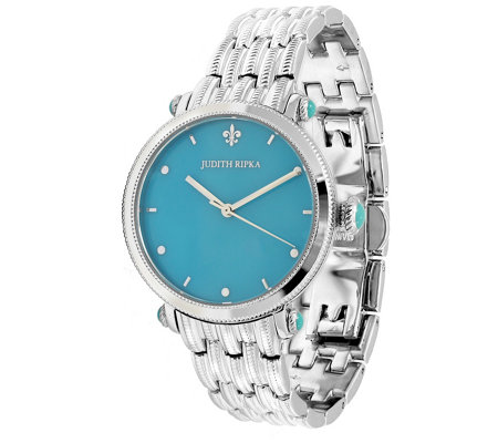 Judith Ripka Stainless Steel Turquoise Link Watch