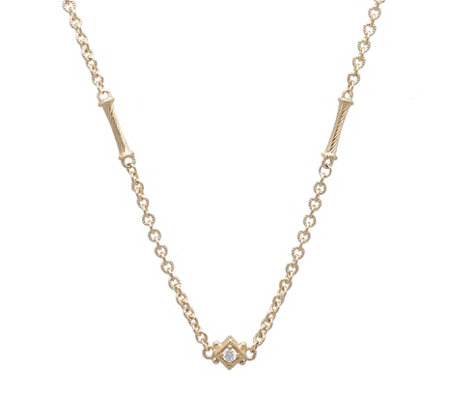 Judith Ripka 14k Diamond Accent Bar Necklace