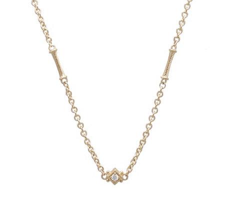 Judith Ripka 14k Diamond Accent Bar Necklace