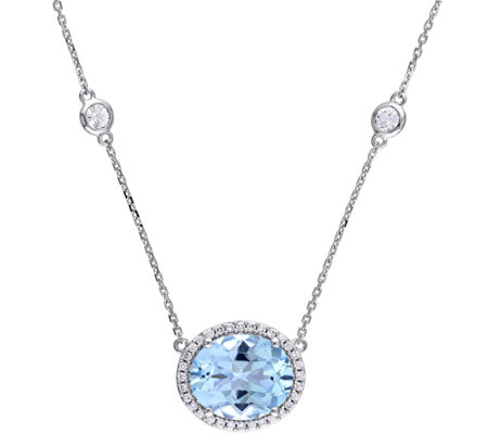 Bellini 6.50 cttw Blue Topaz & 1/6 ct Diamond Necklace