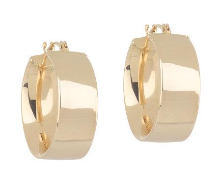 Eternagold Polished Wide Hoop Earrings 14k Gold