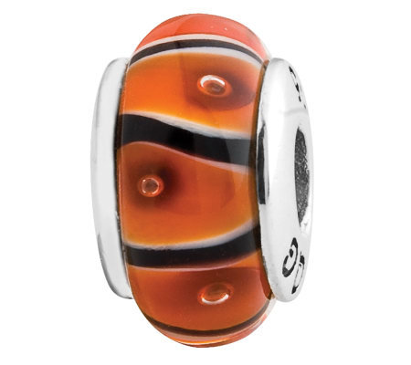 Prerogatives Sterling Orange and Black Glass Bead