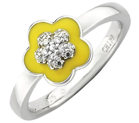 Simply Stacks Sterling Yellow Epoxy Enamel Flower Ring