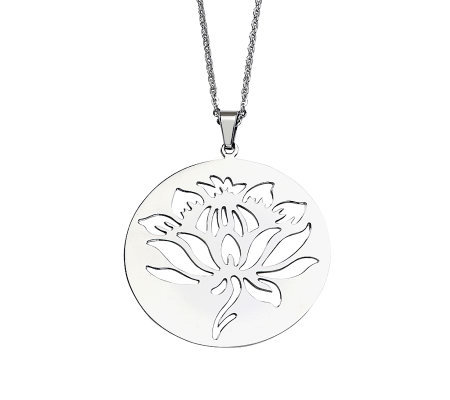 "Stainless Steel Flower Cutout Disc Pendant w/22"" Chain"