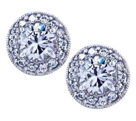 Diamonique Sterling Round Halo Stud Earrings