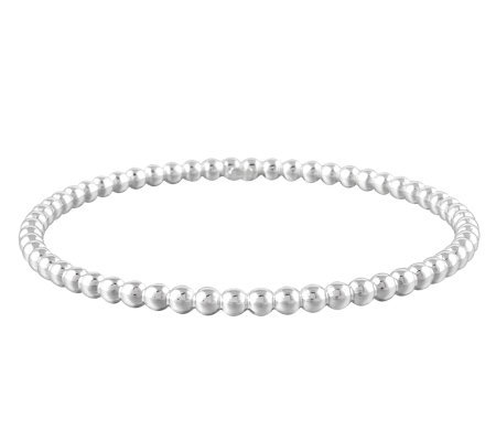 UltraFine Silver Large Polished Bead Slip-On Bangle, 7.10g