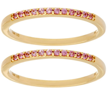 Set of 2 Pink Sapphire Band Rings 14K Gold 0.20 cttw