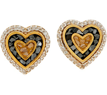 Shana Gulati 18K Clad Diamond Slice Cross or Heart Earrings