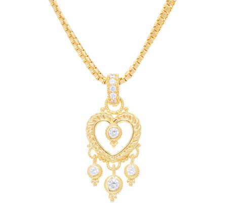 Judith Ripka 14K Clad Diamonique Heart Enhancer with Box Chain
