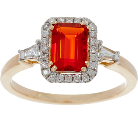 0.55 ct Fire Opal & 1/5 cttw Diamond Ring 14K Gold