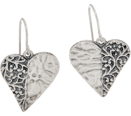 Or Paz Sterling Silver Heart Shaped Dangle Earrings