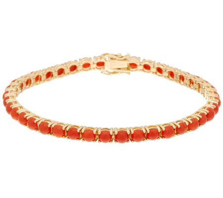 """As Is"" Red Coral 7-1/4"" Tennis Bracelet 14K Gold"
