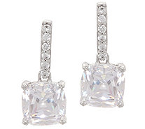 Diamonique Royal Collection Cushion Cut Earrings, Sterl - J356124