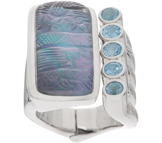 Stephen Dweck Sterling Silver Carved Gemstone Hinged Ring