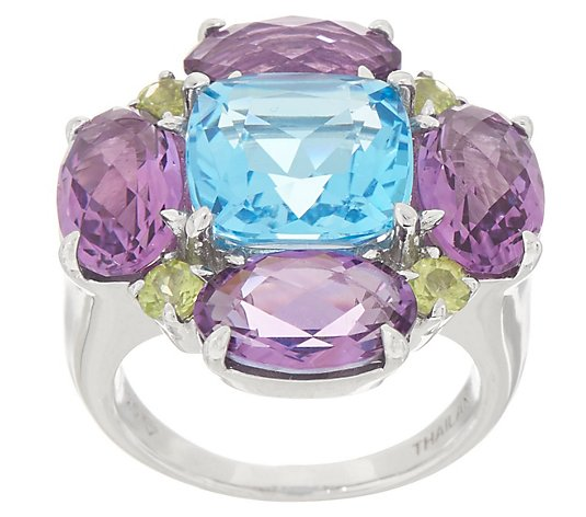 Gemstone Flower Ring, 10.10 cttw, Sterling Silver