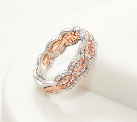 Affinity 14K Natural Pink Diamond Openwork Band Ring, 1/2 cttw