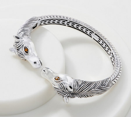 Jai Sterling Silver Double Head Horse Cuff 40 0g