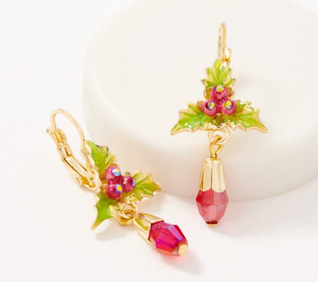 Kirks Folly Holly Berries Crystal Lever Back Earrings
