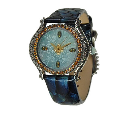 Barbara Bixby Carved Mother of Pearl Dial Leather Strap Watch
