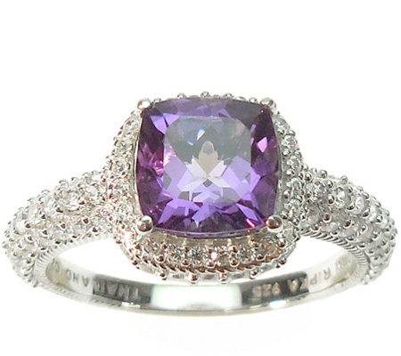 Judith Ripka Sterling and Amethyst with Diamonique Ring