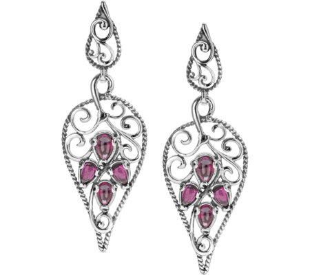 Carolyn Pollack Sterling Rhodolite Trumpet VineEarrings