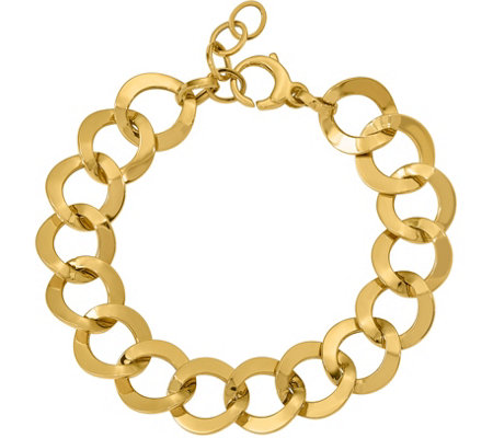 14K Yellow Gold Oversized Curb Link Bracelet, 9.9g
