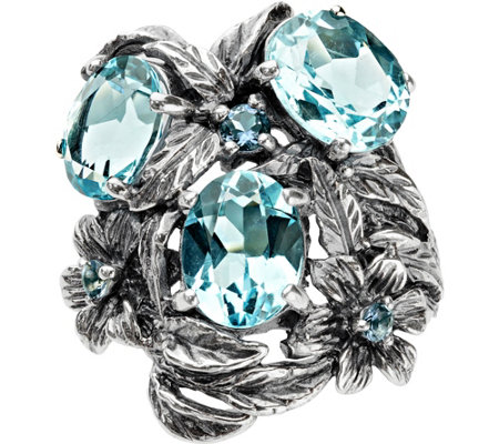 Or Paz Sterling 6.40 cttw Blue Topaz Ring