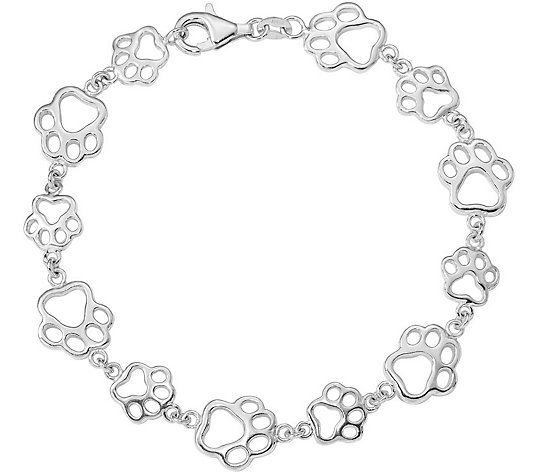 Sterling Paw Print Bracelet by Silver Style