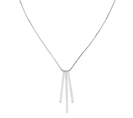 Italian Silver Satin Texture 3-Bar Necklace, Sterling, 3.5g