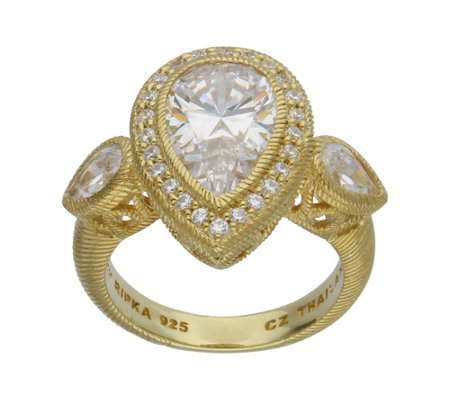 Judith Ripka 14K Clad 4.70 cttw Pear-Shaped Diamonique Ring