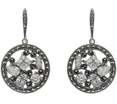 Suspicion Sterling Marcasite & Cubic Zirconia Dangle Earrings