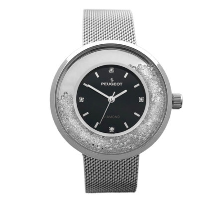Peugeot Women's Crystal Mesh Band Watch