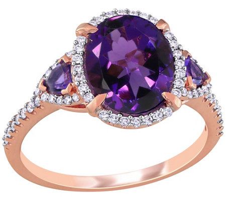 14k Gold 2 60 Cttw Amethyst And 1 5 Cttw Diamond Cocktail Ring