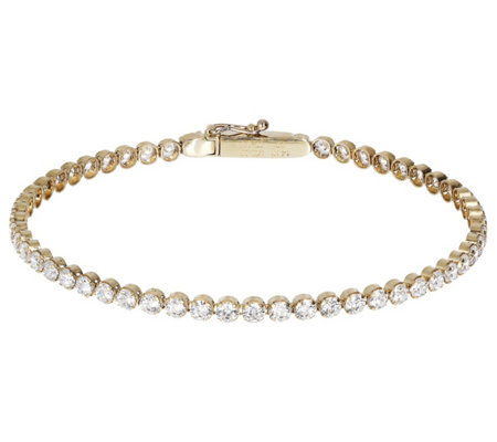 "Diamonique 3.95 cttw 7-3/4"" Tennis Bracelet, 14K Gold"