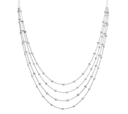 "Sterling Silver 20"" Four Row Beaded Chain Necklace"