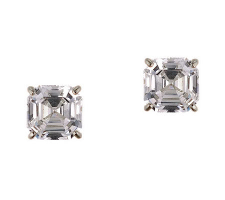 Diamonique 3.00 ct tw Asscher Stud Earrings, 14K Gold