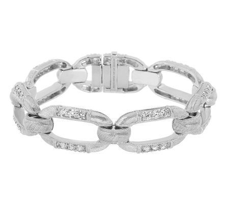 Judith Ripka Textured Grand Statement Diamonique Link Bracelet