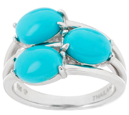 Sleeping Beauty Turquoise 3-Stone Design Sterling Ring