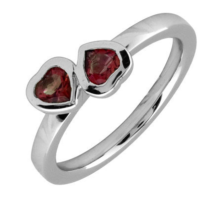 Simply Stacks Sterling & Garnet Double-Heart Ring