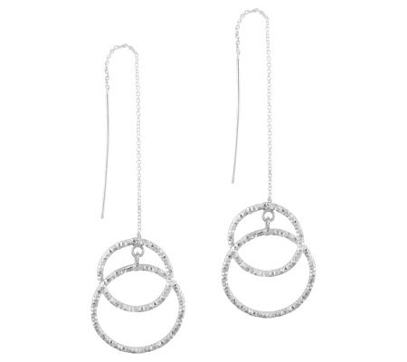 Sterling Diamond-Cut Interlocking Circle Threader Earrings