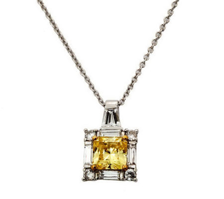 Diamonique 2.50 cttw Princess Cut Pendant,Platinum Clad