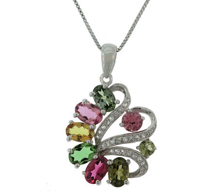 2.50 ct tw Tourmaline & White Topaz Pendant w/Chain, Sterling