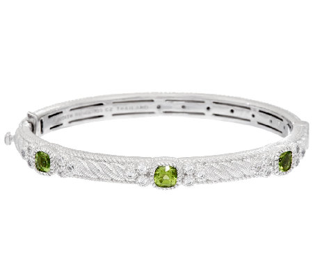 Judith Ripka Sterling Gemstone and Diamonique Hinged Bangle