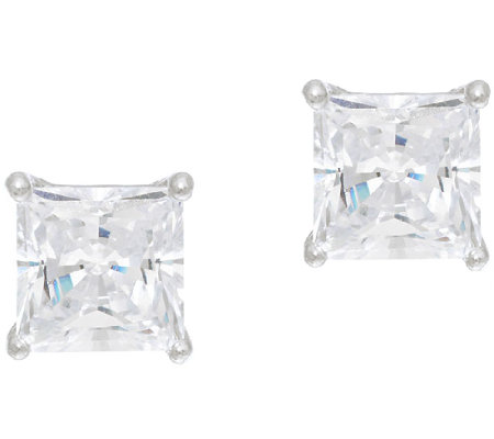 Diamonique 2.00ct tw Sterling Princess Studs with Box