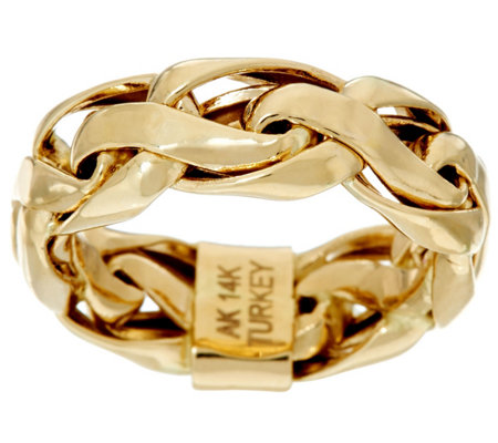 14K Gold Polished Bold Woven Wheat Band Ring