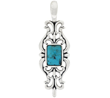 """As Is"" American West Sterling Scroll Turquoise Enhancer"