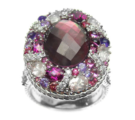 Judith Ripka Sterling Pink Multi-Gemstone Ring